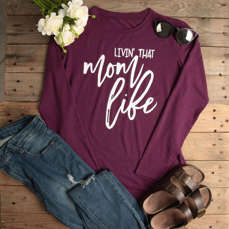 T-Shirt For Women Livin' That Mom Life 2017 Fashion Tops Solid Purple Full Long Sleeve O-Neck Casual Autumn Tees