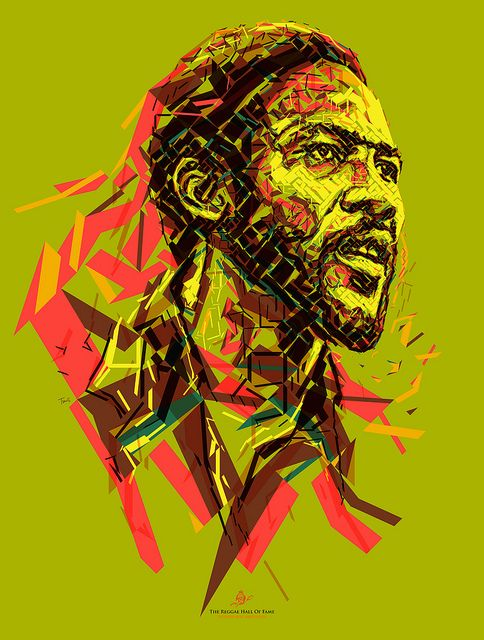 """Frederick """"Toots"""" Hibbert: Do the Reggay  Portrait of Frederick """"Toots"""" Hibbert for the Reggae Hall of Fame foundation. This poster is donated to raise funds to support the Alpha Boys School in Jamaica. Created by Charis Tsevis.   Frederick """"Toots"""" Hibbert, Toots and the Maytals, frontman, Reggae, Ska, Jamaica, Carribean, Africa, music, rock, panafrican, illustration, portrait, mosaic, lines, Island Records"""