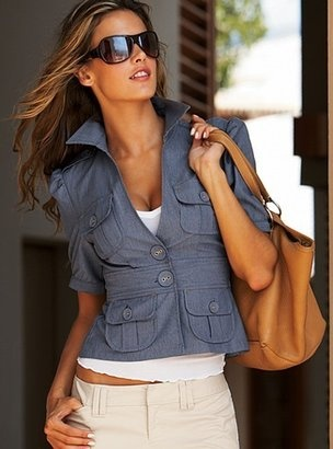 love blue off white flat front with leather (tone) bad...so hot.