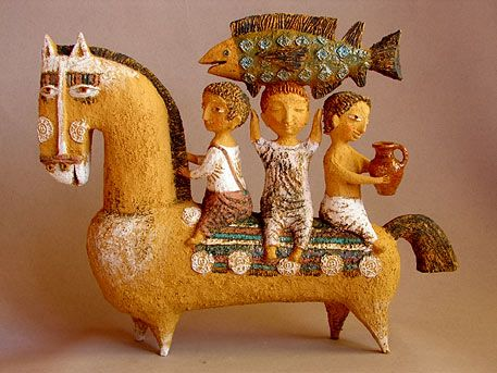 'For a Walk' by Abramtsevo artist colony-based Russian ceramic artist Elya Yalonetskaya. via Venice Clay Artists