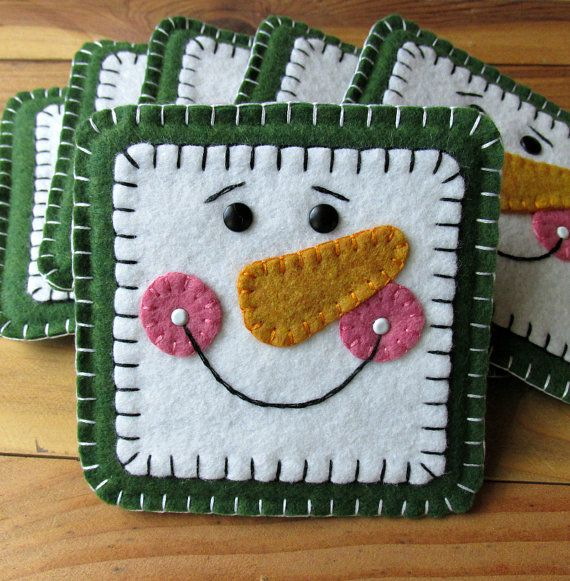 Square Wool Felt Snowman Mug Mat Coasters Set of by FHGoldDesigns