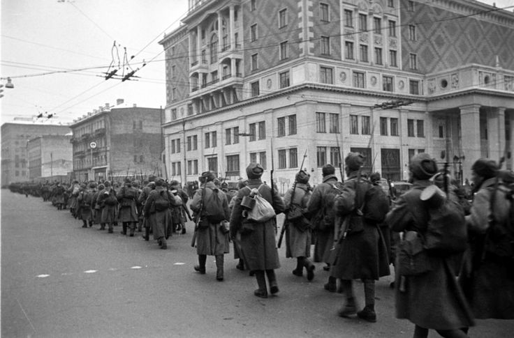 Soviet Army soldiers march to the front during the Battle of Moscow, which took place took place between 2 October 1941 and 7 January 1942. Soviet defensive efforts frustrated Germany's attack on the Soviet capital, which was one of Germany's primary...