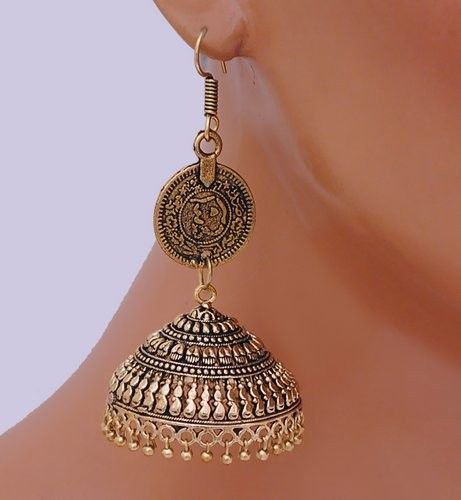 Goldpolish jhumi earring-2538 [Regular Price:                                    $30.00                                                                    Now only:                                    $12.00]