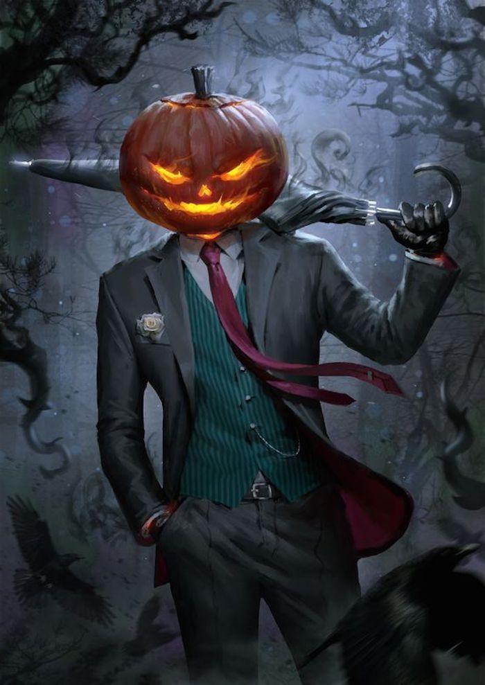 ein Halloween Kürbis aus Kopf von einem Ungeheuer im Kostüm   Halloween Hintergrund