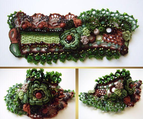 Crochet bracelet cuff in green color with by KSZCrochetTreasures