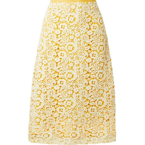 Miu Miu Guipure lace midi skirt (38.012.460 VND) ❤ liked on Polyvore featuring skirts, yellow, floral skirts, floral printed skirt, floral print skirt, lace skirts and mid-calf skirt