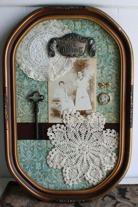 Antique Picture Frame, I am so going to do this with some old stuff of my mom and dads, what an awesome idea.......................