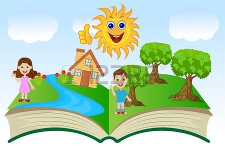 open book with children and summer landscape vector illustration Stock Vector