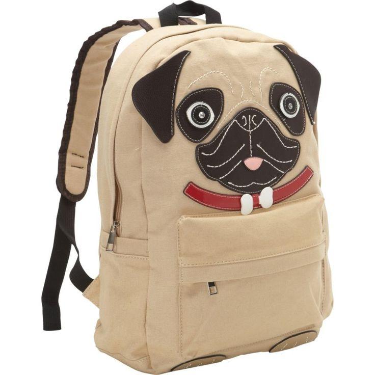 Ashley M Adorable Pug Puppy Canvas Backpack (Khaki)