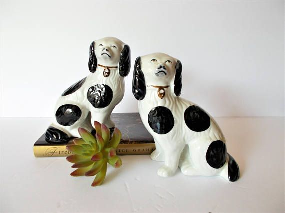 Faux Staffordshire Dogs Staffordshire Spaniel Pair Black and