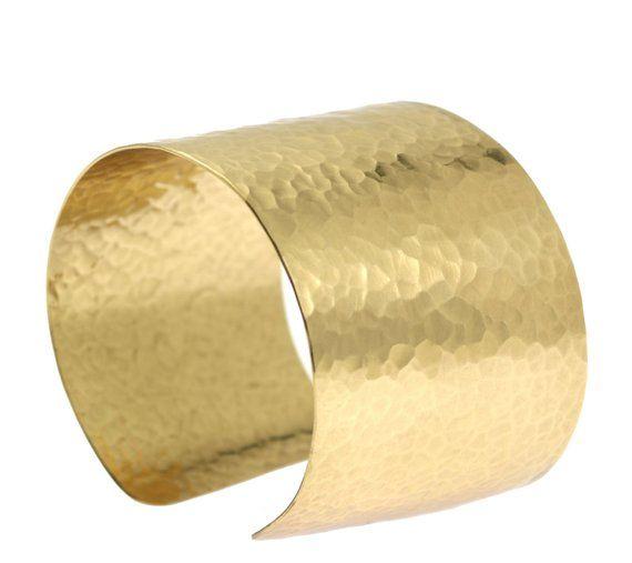Hammered 14k Gold Filled Cuff Bracelet Wide