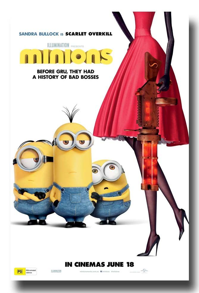 Sandra Bullock in the new #Minions Movie as Scarlet Overkill - Here is a Poster --  http://concertposter.org/minions-promo-flyer-poster-2015-movie-redgun/