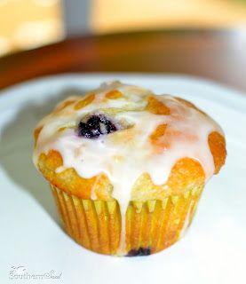 Blueberry Sour Cream Muffins with Lemon Glaze