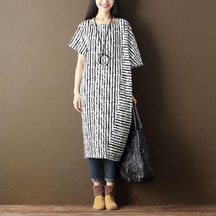 Women Casual Stripe Pocket Short Sleeve Black Dress