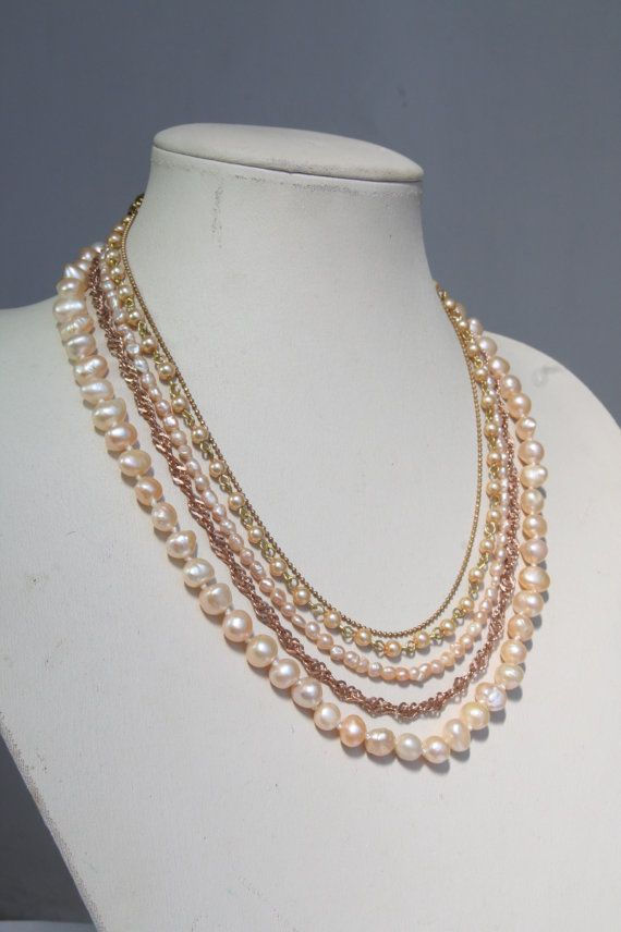 Bridal Pearls Necklace Pink Champagne Wedding Multi strand Powder necklace Freshwater Pearls Rose Gold Necklace Rhinestone Antique Vintage