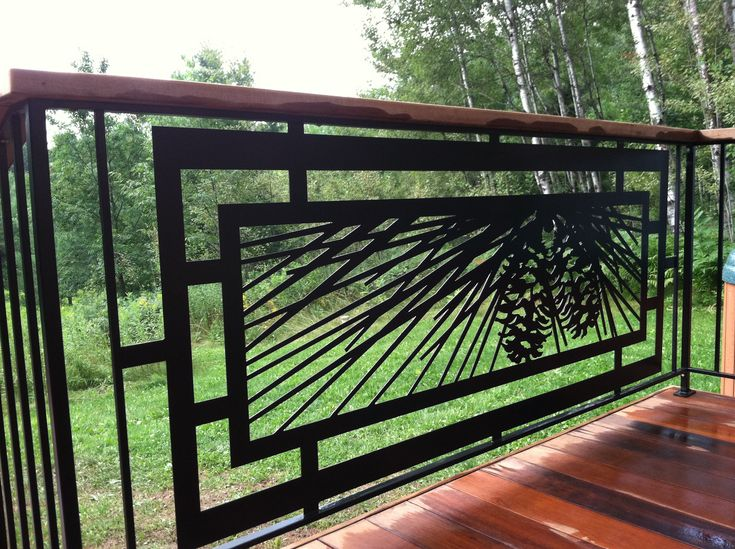 Modern pinecone railing for outdoor deck patio or hot for Balcony steel railing designs pictures