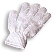 White Exfoliating Gloves 1 Pair by FPO. $1.29. One size fits most. Made of Nylon material perfect for massaging into the skin and removing dead skin cells. One pair each. Rinse and store in a dry, airy place until next use. These Invigorate Exfoliating Gloves are the perfect bathroom beauty accessory. The gloves are elasticised so they can stretch to the perfect fit of your hands, and are perfect for using in the bath or shower and will help to wash away dead skin cells leav