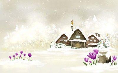 Snowy house wallpaper