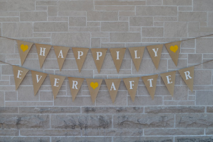 Happily Ever After  ....  burlap banner  ....  wedding  ...  engagement   ....  bunting. $50.00, via Etsy.
