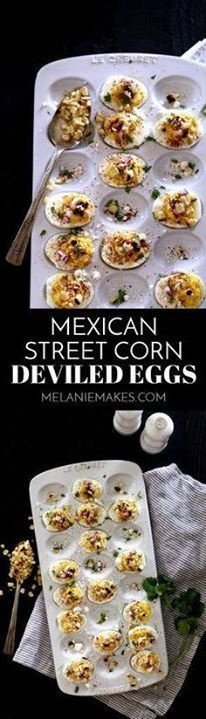 These Mexican Street These Mexican Street Corn Deviled Eggs are...  These Mexican Street These Mexican Street Corn Deviled Eggs are guaranteed to be the talk of your next gathering! Traditional deviled eggs are garnished with feta cheese grilled corn red onion chili powder and cilantro to create one amazing bite size appetizer. Recipe : http://ift.tt/1hGiZgA And @ItsNutella  http://ift.tt/2v8iUYW