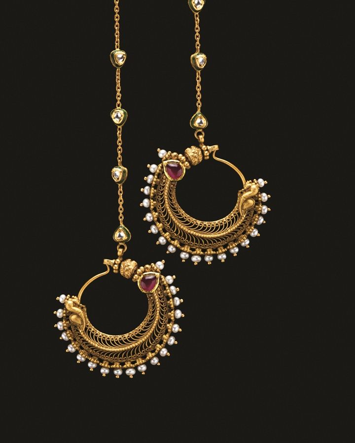Ruby, diamond, pearl, enamel and gold earrings.