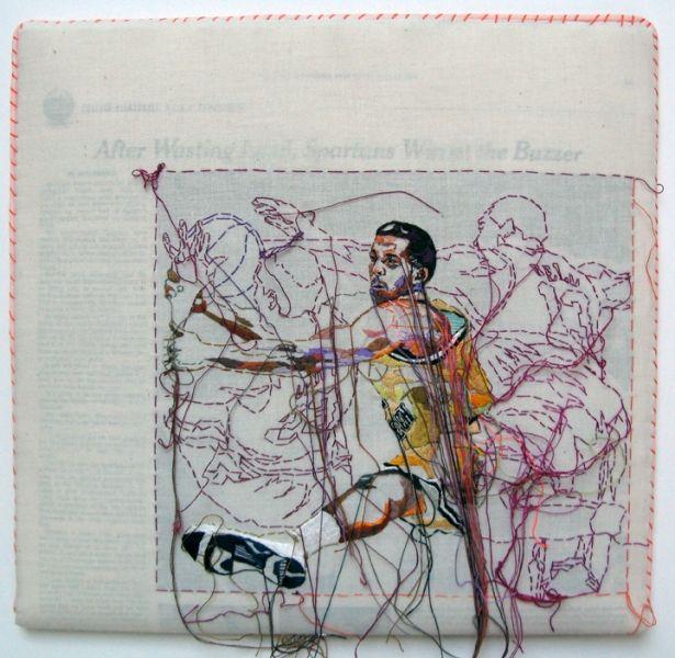 Lauren DiCioccio 22MAR10 (Brian Oliver) Hand-embroidery on cotton over The New York Times 2010 laurendicioccio.com