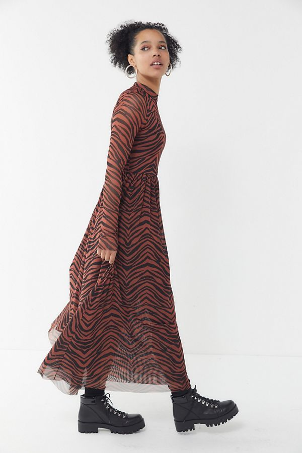 2e90460a24c9a UO Tiger Print Mesh Maxi Dress in 2019   Styling+Modeling   Dresses ...