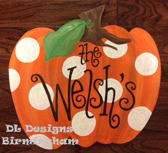Polka Dot Pumpkin door hanger on Etsy, $35.00