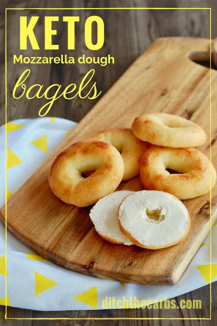 Easy recipe for Keto mozzarella dough bagels. #lowcarb #keto #glutenfree #LCHF #sugarfree #healthyrecipe #ketobagels | ditchthecarbs.com via @ditchthecarbs