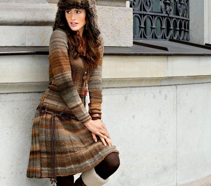 Схема и описание вязания на спицах платья в коричневых тонах из журнала «Verena. Модное вязание» №2/2014