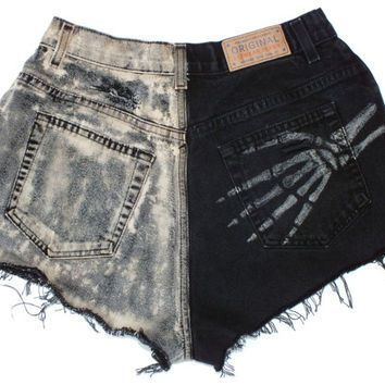 High Waisted Halloween Shorts Skeleton Hands Small Black & Orange Bleached Vintage Denim Jean Cut Offs and Distressed Hipster