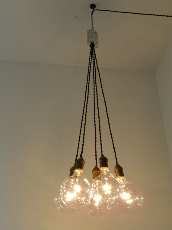 PLUG IN Cluster Chandelier Pendant Lighting modern swag Custom Industrial pendant lamp globe bulb antique cloth cord vintage style wire