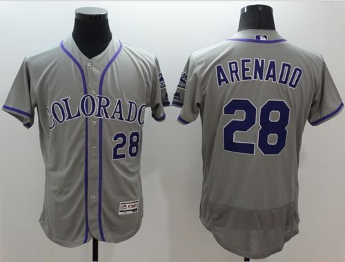 dfd0d75d4d6 Rockies #28 Nolan Arenado Grey Flexbase Authentic Collection Stitched MLB  Jersey