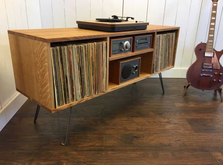 Mid century modern record player console, turntable, stereo cabinet with LP album storage. Quartersawn white oak with steel hairpin legs. by scottcassin on Etsy https://www.etsy.com/listing/512910723/mid-century-modern-record-player-console