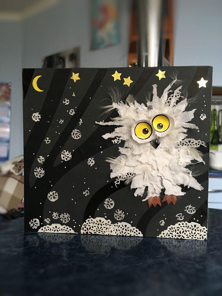 Зимние поделки с детьми, творчество, зима, сова, своими руками, из бумаги, картон