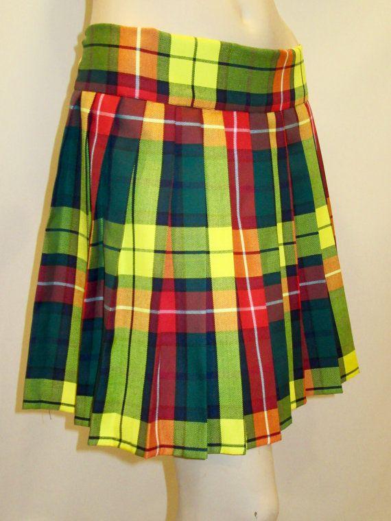 Modern Buchanan Plaid Elastic Waistband Pleated Skirt~Green Yellow Red Green Halloween Skirt~Christmas Gift  Skirt Custom Make@sohoskirts