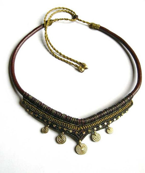 Brass Spiral Tribal Necklace  Macrame Brown Olivegreen, Choker Collier Collar Leather Made to Order