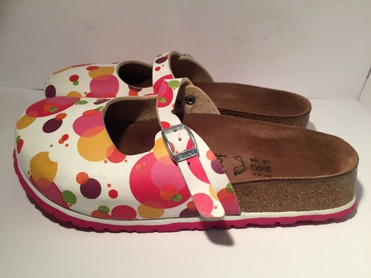 Birki's Sz 37 Birkenstock Colorful Bubbles Mary Jane Clogs Adjustable Buckle 💖 #Birkis #Clogs