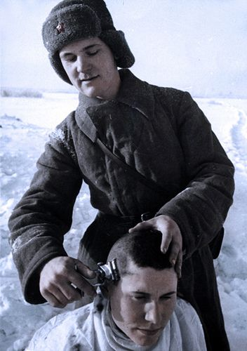 Soviet soldiers - A haircut,WW2 | Flickr - Photo Sharing!