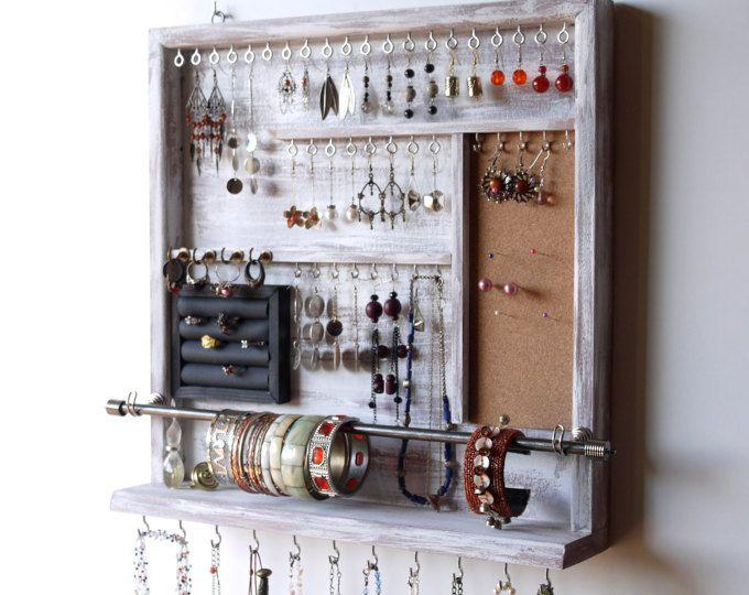 De organisator van de sieraden. oorbellen houder. de houder van de ketting van de sieraden rek. Verontruste wit scherm. Wandmodellen sieraden opslag. MEERDERE KLEUREN.