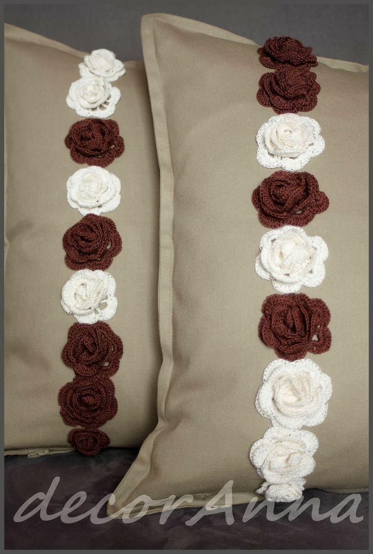 Cream and chocolate crochet roses