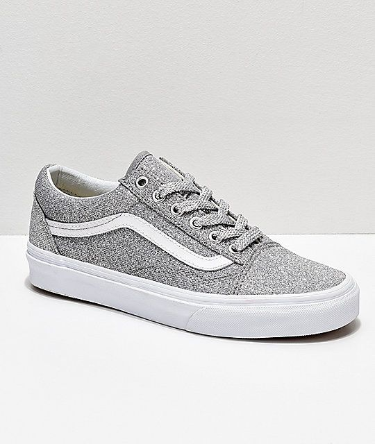 050b0e433c Vans Old Skool Silver   White Glitter Skate Shoes