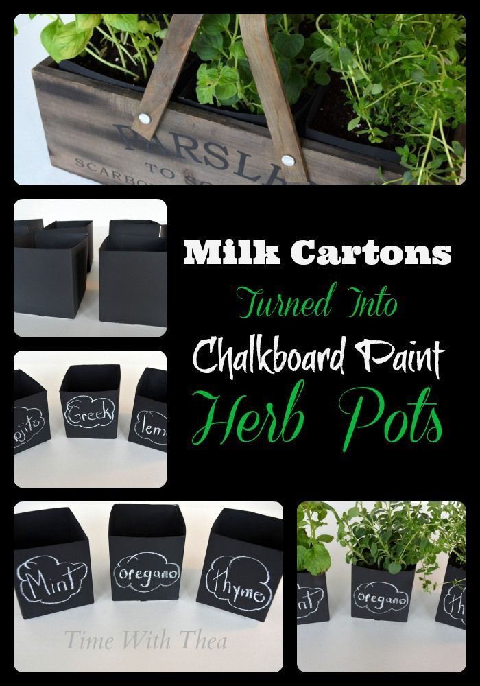 Milk Cartons Turned Into Chalkboard Paint Herb Pots {Time With Thea} #recyclingmilkcartons