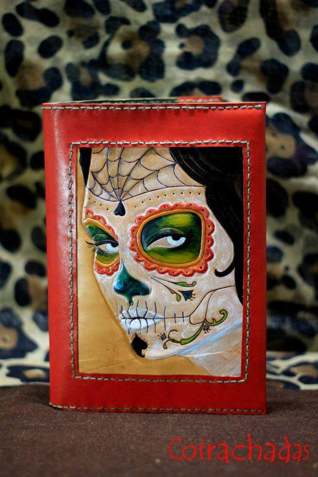 Agenda de cuero con calavera mejicana. Mexican skull leather