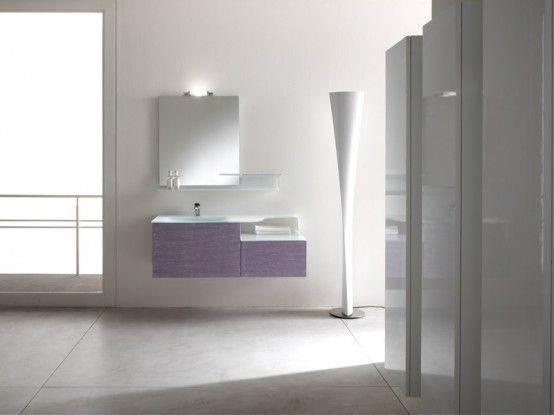 Awesome Modern Bathroom Cabinets – Piquadro 2 by BMT : Awesome Modern Bathroom Cabinets – Piquadro 2 By BMT With White And Purple Vanity And Wall Mirror And Floor Lamps Design