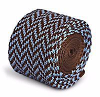 18 Frederick Thomas Knitted Skinny Chocolate Brown and Blue Herringbone Tie FT3294