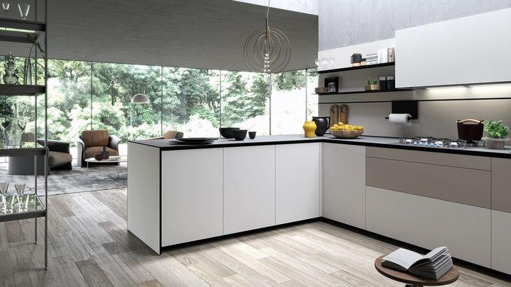 Cucina componibile con penisola FORMA MENTIS - ANGEL SKIN by VALCUCINE