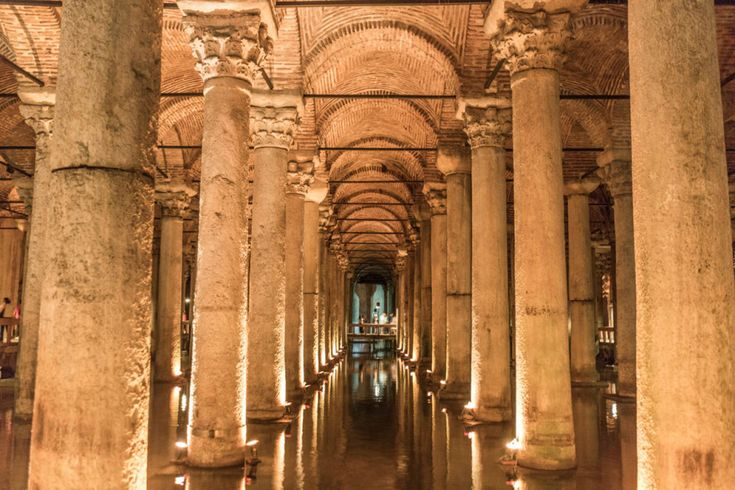 """3. Basilica Cistern: Just down the road from the Blue Mosque is the Basilica Cistern, a """"sunken palace"""" that lies beneath the surface of Istanbul's streets. Originally built in the 3rd and 4th centuries as a commercial center, it was later repurposed as part of a water filtration system."""