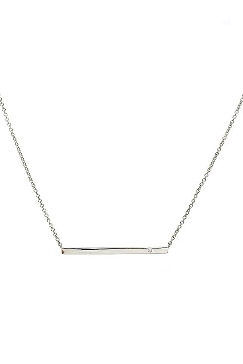 Babe Silver Bar Necklace - Gold Vertical Bar with Cubic Zirconia Pendant Necklace