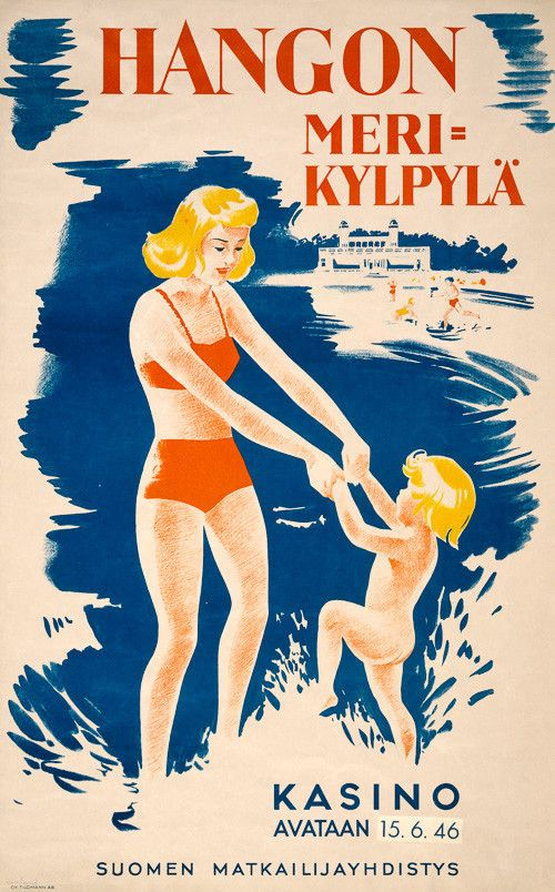 "Hangon Meri-kylpylä. Kasino Avataan 15.6.46. Suomen Matkailijayhdistys. ""Hanko sea spa. Casino to open 15.6.46. Finnish Tourist Association."" This vintage travel poster is for the Hanko, Finland, sea"